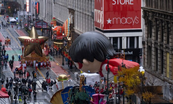 Floats that are part of the modified Macy's Thanksgiving Day Parade are seen from the Empire State Building in New York City, on Nov. 26, 2020. (Craig Ruttle/AP Photo)