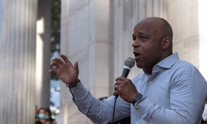 Denver Mayor Michael Hancock at Civic Center Park in Denver, Colo., on June 3, 2020. (Jason Connolly/AFP via Getty Images)