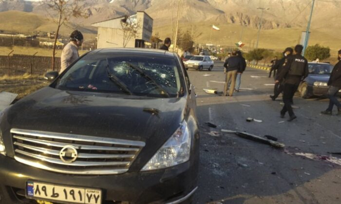 The scene where Mohsen Fakhrizadeh was killed in Absard, a small city just east of the capital, Tehran, Iran, on Nov. 27, 2020. (Fars News Agency via AP)
