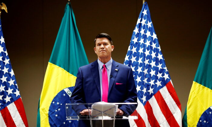 U.S Under Secretary of State for Economic Growth, Energy, and the Environment, Keith Krach speaks during a meeting with businessmen, economists and journalists to discuss excluding China's Huawei Technologies Co from Brazil's 5G market, in Brasilia, Brazil, on Nov. 11, 2020. (Adriano Machado, Reuters)