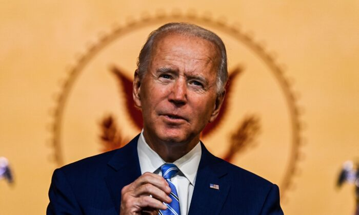 Democratic presidential nominee Joe Biden delivers a Thanksgiving address at the Queen Theater in Wilmington, Del., on Nov. 25, 2020. (Chandan Khanna/AFP via Getty Images)