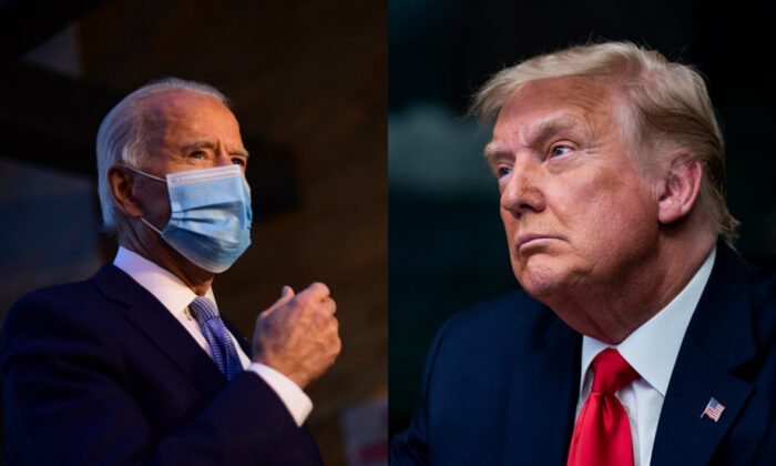 Democratic presidential candidate Joe Biden, left, and President Donald Trump in file photographs. (Getty Images)