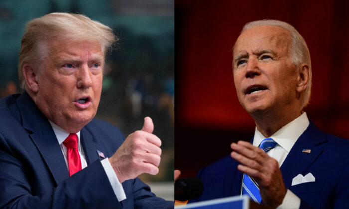 President Donald Trump, left, and Democratic presidential nominee Joe Biden in file photographs. (Getty Images)