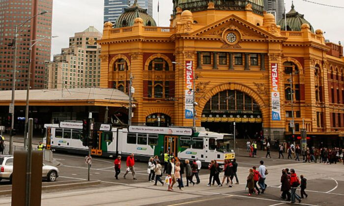 A tram passes Flinders Street Station on August 14, 2012 in Melbourne, Australia. (Scott Barbour/Getty Images)