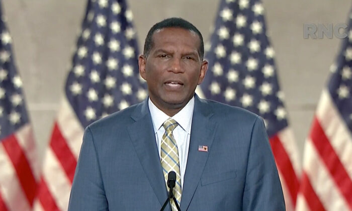 Former NFL player and Rep.-elect Burgess Owens (R-Utah) addresses the virtual RNC convention on Aug. 26, 2020. (Courtesy of the Committee on Arrangements for the 2020 Republican National Committee via Getty Images)