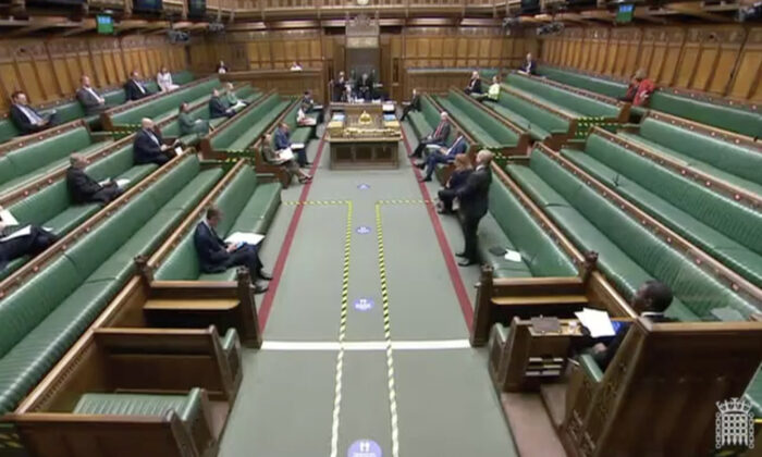 The House of Commons in London on Nov. 26, 2020. (Screenshot/Parliamentlive.tv)
