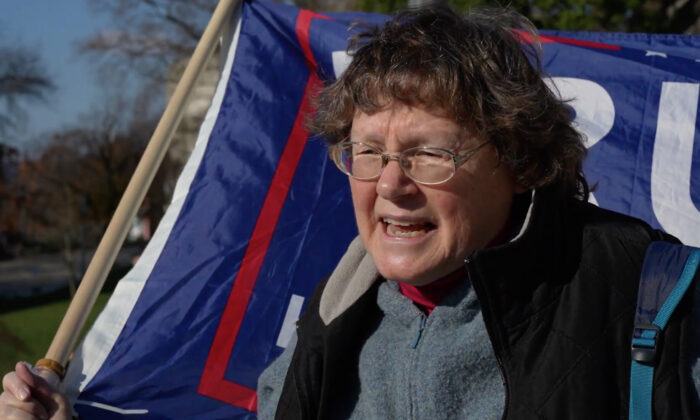 Patty Fallon attended a Stop the Steal rally in Harrisburg, Pennsylvania on Nov. 28, 2020. (NTD Television)