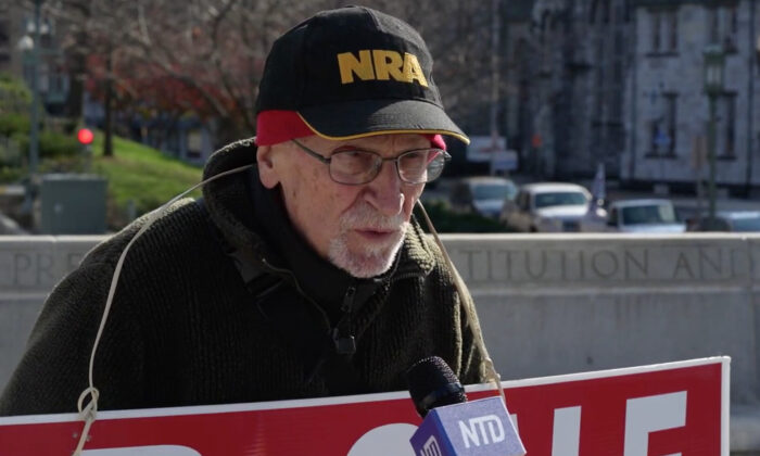 Ed Snell attended a Stop the Steal rally in Harrisburg, Pennsylvania on Nov. 28, 2020. (NTD Television)
