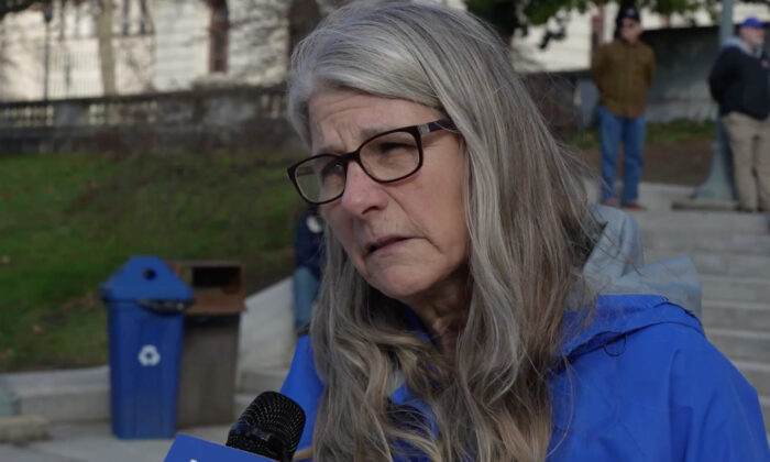 Joanie Bruckner attended a Stop the Steal rally in Harrisburg, Pennsylvania on Nov. 28, 2020. (NTD Television)