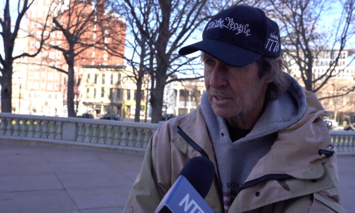 Dan Ampe attended a Stop the Steal rally in Madison, Wisconsin on Nov. 28, 2020. (NTD Television)