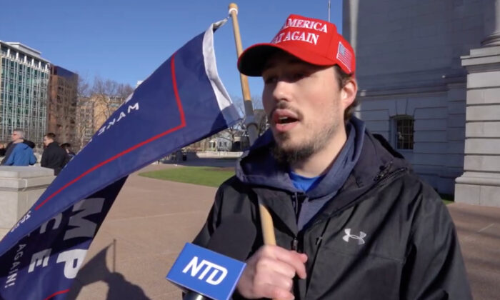 Nathan Kendall attended a Stop the Steal rally in Madison, Wisconsin on Nov. 28, 2020. (NTD Television)