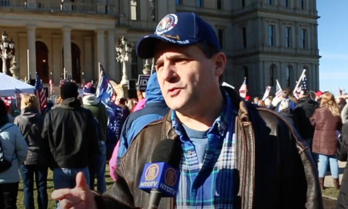 Patrick Colbeck attended a Stop the Steal rally in Lansing, Michigan on Nov. 28, 2020. (NTD Television)