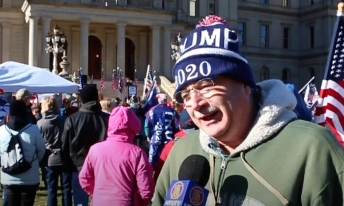 Wayne Boonstra attended a Stop the Steal rally in Lansing, Michigan on Nov. 28, 2020. (NTD Television)