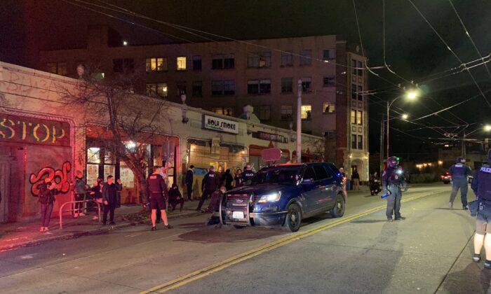 Police make arrests in Seattle, Wash., on Nov. 27, 2020. (Seattle Police Department)