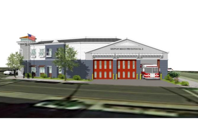 A rendering shows a new fire station that will be constructed in Newport Beach, Calif. (Courtesy of the Newport Beach Fire Department)