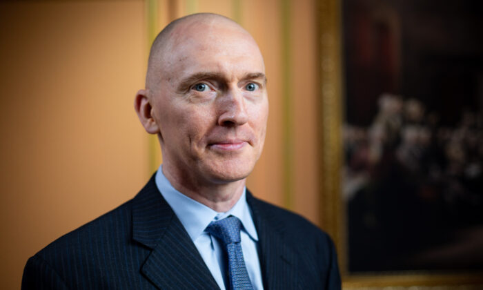 Carter Page, petroleum industry consultant and former foreign policy adviser to Donald Trump, in New York City on Aug. 21, 2020. (Brendon Fallon/The Epoch Times)