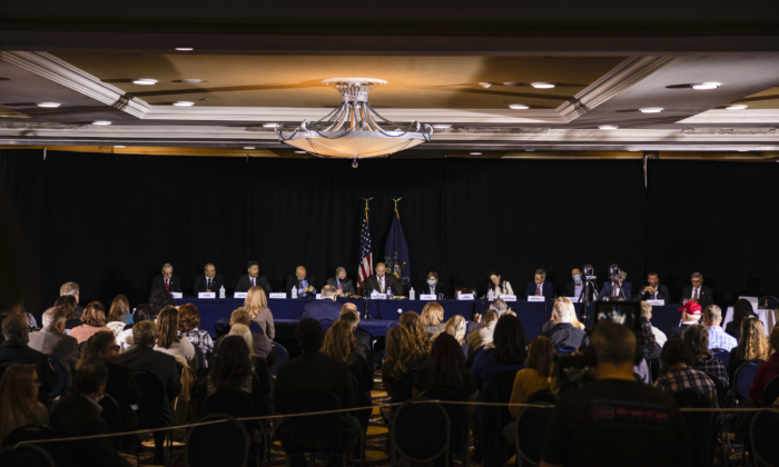 The Pennsylvania Senate Majority Policy Committee holds a public hearing Wednesday at the Wyndham Gettysburg hotel to discuss 2020 election issues and irregularities with President Trumps lawyer Rudy Giuliani in Gettysburg, Pa., on Nov. 25, 2020. (Samuel Corum/Getty Images)