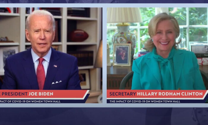 In this screengrab taken from the PBS News Hour website, former first lady, Senator, and Secretary of State Hillary Clinton joins former Vice President and Democratic presidential candidate Joe Biden during a live-streamed town hall in Wilmington, Del., on April 28, 2020. (PBS News Hour via Getty Images)