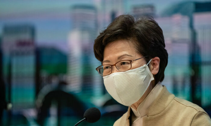 Hong Kong leader Carrie Lam speaks during a press conference in Hong Kong on Nov. 11, 2020. (Anthony Kwan/Getty Images)