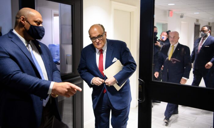 President Donald Trump's personal lawyer Rudy Giuliani arrives for a press conference at the Republican National Committee headquarters in Washington, on Nov. 19, 2020. (Mandel Ngan/AFP via Getty Images)