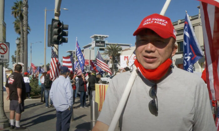 Thuan Phan attended a Stop the Steal rally in Huntington Beach, California on Nov. 28, 2020. (NTD Television)