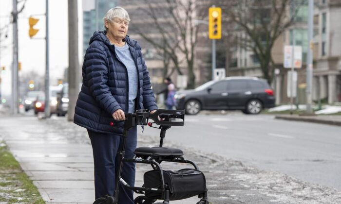 Catherine Riddell, one of the survivors of the Toronto van attack, near the attack site in Toronto on Nov. 25, 2020. (The Canadian Press/Frank Gunn)
