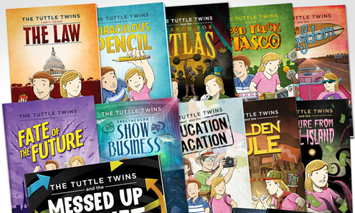 """A set of """"Tuttle Twins"""" books. (Courtesy of Connor Boyack)"""