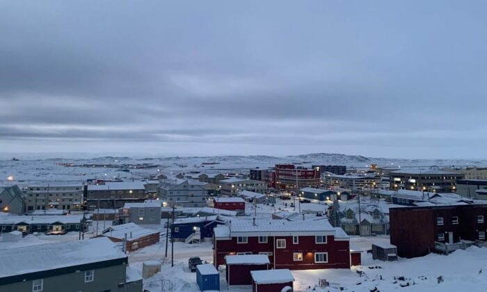 Downtown Iqaluit, Nunavut, on Nov. 24, 2020. Nunavut will begin lifting a two-week lockdown as more people infected with COVID-19 recover. (The Canadian Press/Emma Tranter)