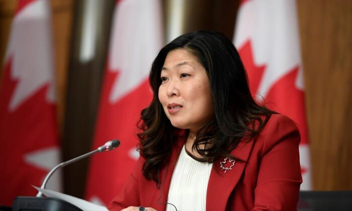 Minister of International Trade Mary Ng participates in a news conference on the Canada-United Kingdom Trade Continuity Agreement in Ottawa, on Nov. 21, 2020. (The Canadian Press/Justin Tang)