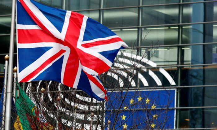 A British Union Jack flag flutters outside the European Parliament in Brussels, Belgium, on Jan. 30, 2020. (Francois Lenoir/Reuters)