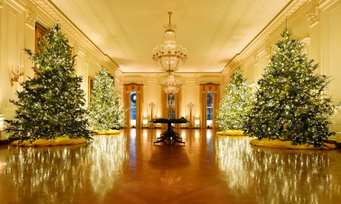 The East Room of the White House is decorated during the 2020 Christmas preview in Washington, on Nov. 30, 2020. (Patrick Semansky/AP Photo)