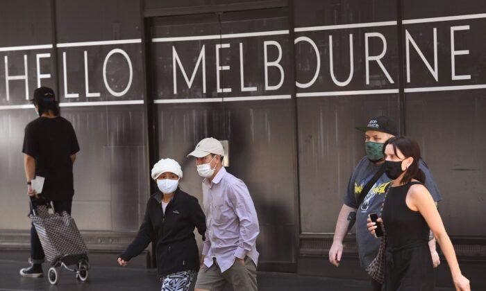 People return to Melbourne's CBD, Victoria, Australia on Nov. 9, 2020. (William West/AFP via Getty Images)