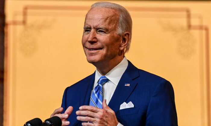 Democratic presidential nominee Joe Biden delivers a Thanksgiving address at the Queen Theatre in Wilmington, Del., on Nov. 25, 2020. (Chandan Khanna/AFP via Getty Images)