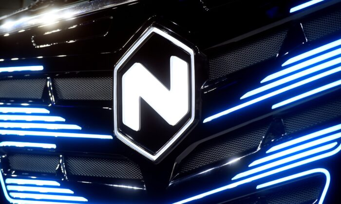 Nikola's logo is pictured at an event in Turin, Italy, on Dec. 3, 2019. (Massimo Pinca/Reuters)