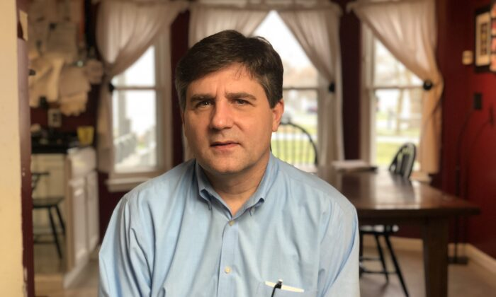 Patrick Colbeck, a former state senator, aerospace engineer, and a poll challenger sits down for an interview in Detroit, on Nov. 27, 2020. (Bowen Xiao/The Epoch Times)