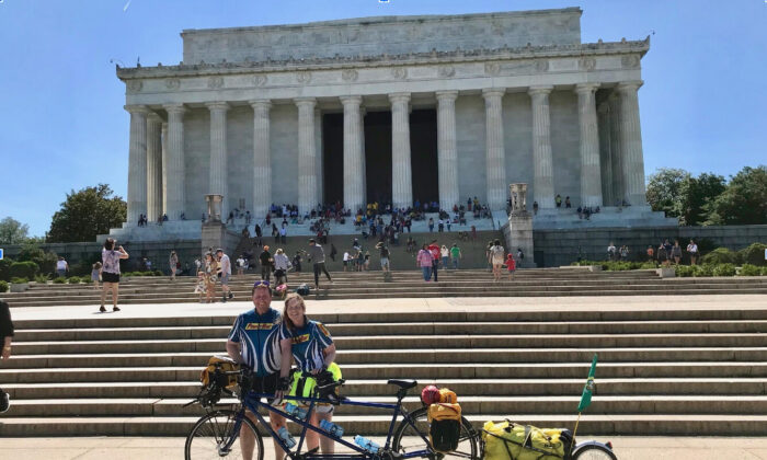 Stuart and Caren McDowell arriving at the Lincoln Memorial in Washington, D.C., after 3,800 miles of bicycling across America, in June 2019. (Courtesy of Stuart McDowell)