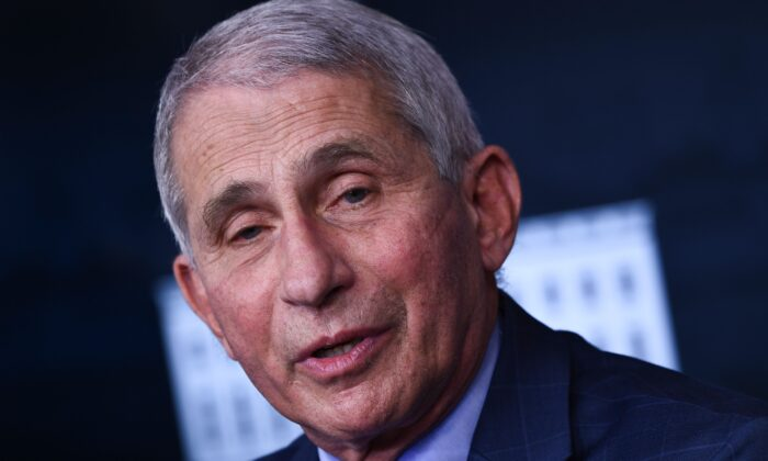 Director of the National Institute of Allergy and Infectious Diseases Anthony Fauci speaks during a White House Coronavirus Task Force press briefing at the White House in Washington on Nov. 19, 2020. (Brendan Smialowski/AFP via Getty Images)