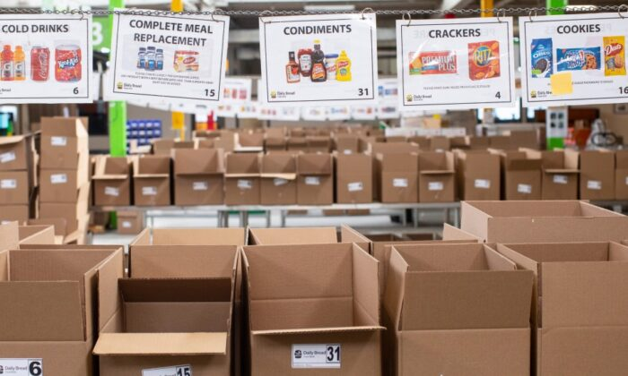 Boxes wait to be filled with provisions at The Daily Bread Food Bank warehouse in Toronto on March 18, 2020. (The Canadian Press/Chris Young)