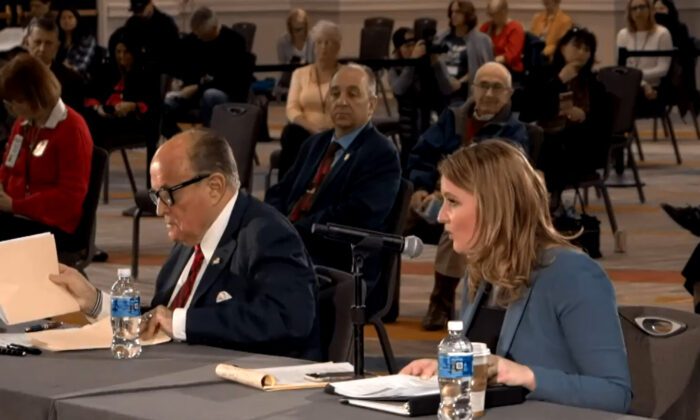 President Donald Trump's lawyers Jenna Ellis and Rudy Giuliani, and members of Arizona State Legislature hold a public hearing on election integrity in Phoenix, Ariz., on Nov. 30, 2020. (Screenshot via NTD)