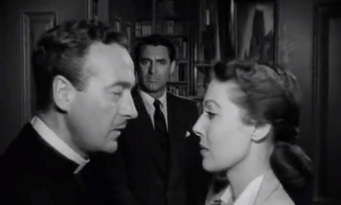 (Foreground) Bishop Brougham (David Niven, L) and his wife (Loretta Young) discuss the day's plans while (background) Dudley (Cary Grant) eavesdrops. (RKO Radio Pictures).