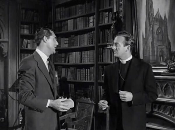 man and a bishop in a library