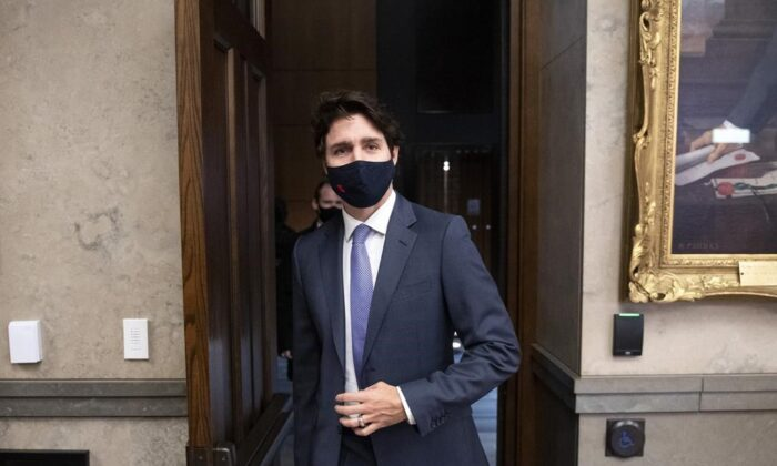 Prime Minister Justin Trudeau leaves the House of Commons after the tabling of the fiscal update on Parliament Hill in Ottawa, on Nov. 30, 2020. (The Canadian Press/Justin Tang)