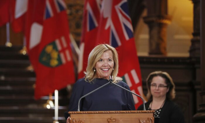 Deputy Minister and Health Minister Christine Elliott speaks during a swearing-in ceremony at Queen's Park in Toronto, Canada, on June 29, 2018. (The Canadian Press/Mark Blinch)