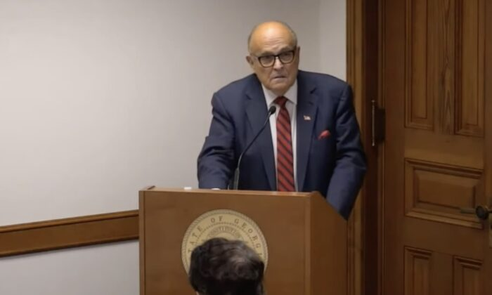 Former NY city mayor Rudy Giuliani testifies before the Georgia Senate subcommittee hearing on election issues at the state capitol in Atlanta on Dec. 30, 2020. (Screenshot)