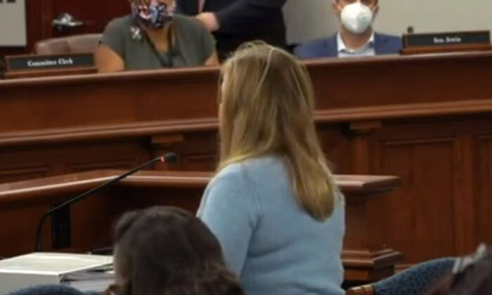 A woman who said she was a poll observer at the TCF Center in Detroit on Election Day testified in front of a Michigan State Senate hearing on Dec. 1, 2020. (NTD News screenshot)