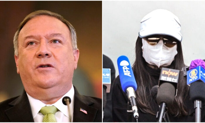 """U.S. Secretary of State Mike Pompeo (L) in Washington on Sept. 21, 2020, and the family members of the """"Hong Kong 12"""" (R) in Hong Kong on Dec. 28, 2020. (Patrick Semansky/Pool via REUTERS/Peter Parks/AFP via Getty Images)"""