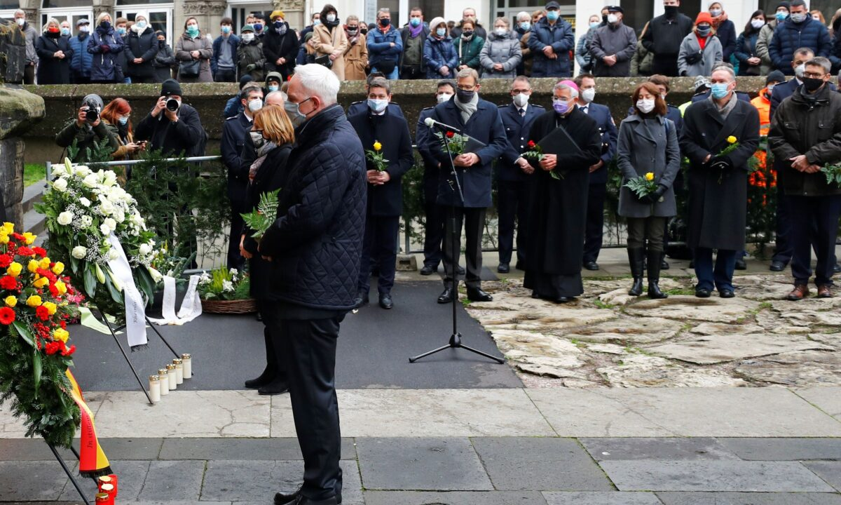 Prime Minister at State of Rhineland-Palatinate Malu Dreyer and Mayor of Trier Wolfram Leibe pay their respects near the site where a car crashed into pedestrians