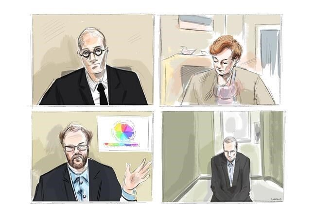 Crown attorney Joe Callaghan, clockwise from top left, Justice Anne Molloy, accused in the April 2018 Toronto van attack Alek Minsassian and Dr. Alexander Westphal are shown during a murder trial conducted via Zoom videoconference, in this courtroom sketch on Nov. 30, 2020. (The Canadian Press/Alexandra Newbould)