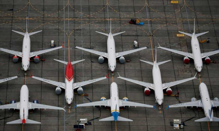 Grounded Boeing 737 MAX aircraft are seen parked at Boeing facilities at Grant County International Airport in Moses Lake, Wash., on Nov. 17, 2020. (Lindsey Wasson/File Photo/Reuters)
