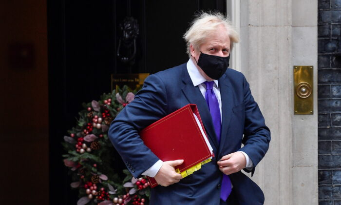 Britain's Prime Minister Boris Johnson leaves Downing Street in London, on Dec. 2, 2020. (Toby Melville/Reuters)